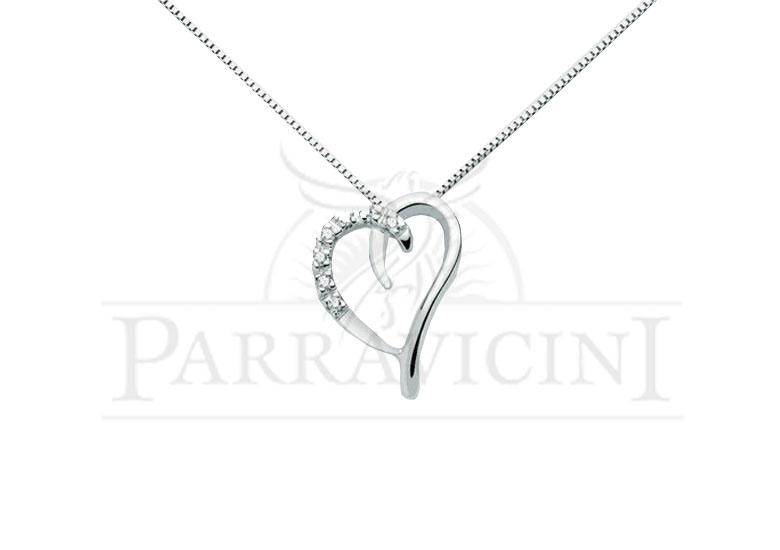 orologio e4a47 a18d2 Miluna Girocollo Cuori e diamante in oro bianco CLD1601